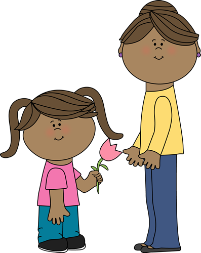 Mom Clip Art Image   Girl With Pigtails Giving A Pink Flower To Mom