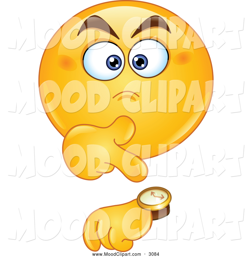 Mood Clip Art Of An Annoyed Smiley Emoticon Pointing To His Watch