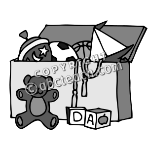 Pick Up Toys Clipart For Kids Clip Art  Toy Chest Grayscale