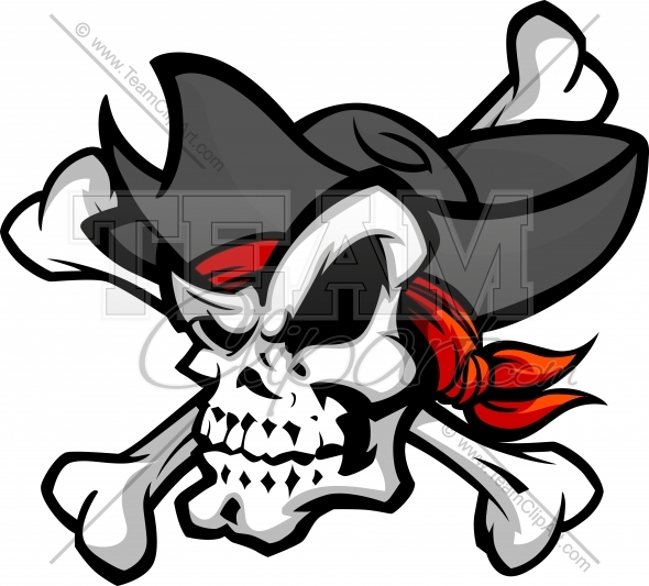 Pirate Skull Mascot Head Vector Clipart Image