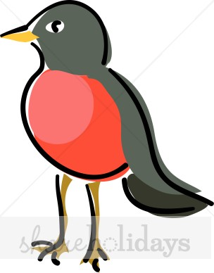 Red Breasted Robin Clipart   Easter Clipart