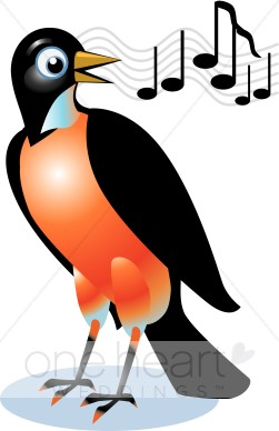 Singing Red Robin Clipart   Love Bird Clipart