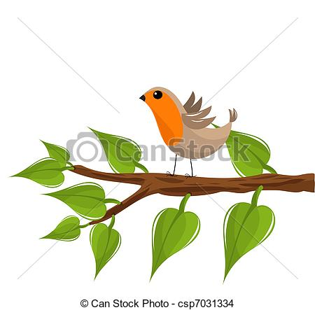Spring Robin Clipart Vector   Robin Bird On Branch