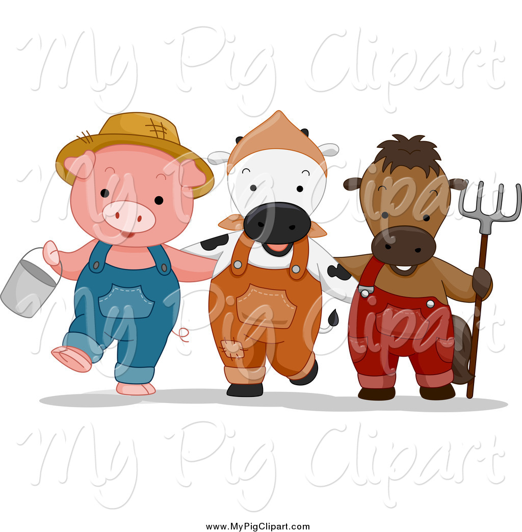 Swine Clipart Of A Cute Farmer Pig Cow And Horse With A Bucket And