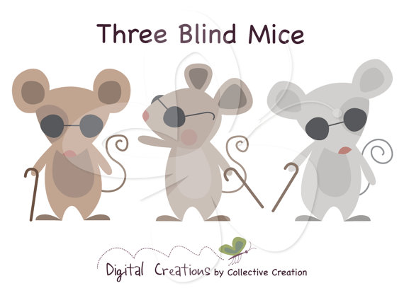 Three Blind Mice Digital Clip Art Clipart Set   Personal And