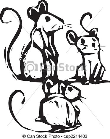 Vectors Of Three Mice   Three Mice Sitting Together Listening For