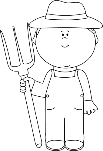 White Farmer Boy Clip Art Image   Black And White Outline Of A Farmer