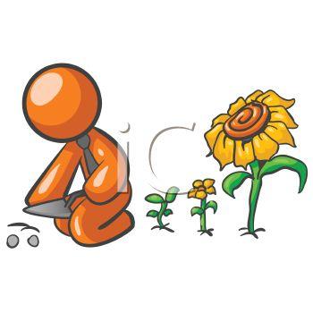 1007 1304 0752 Orange Man Character Planting Flowers Clipart Image Jpg
