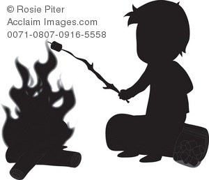 Boy In Silhouette Clipart   Camping Boy In Silhouette Stock