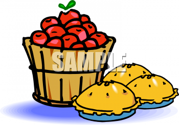 Bushel Of Apples And Three Apple Pies Clipart Image