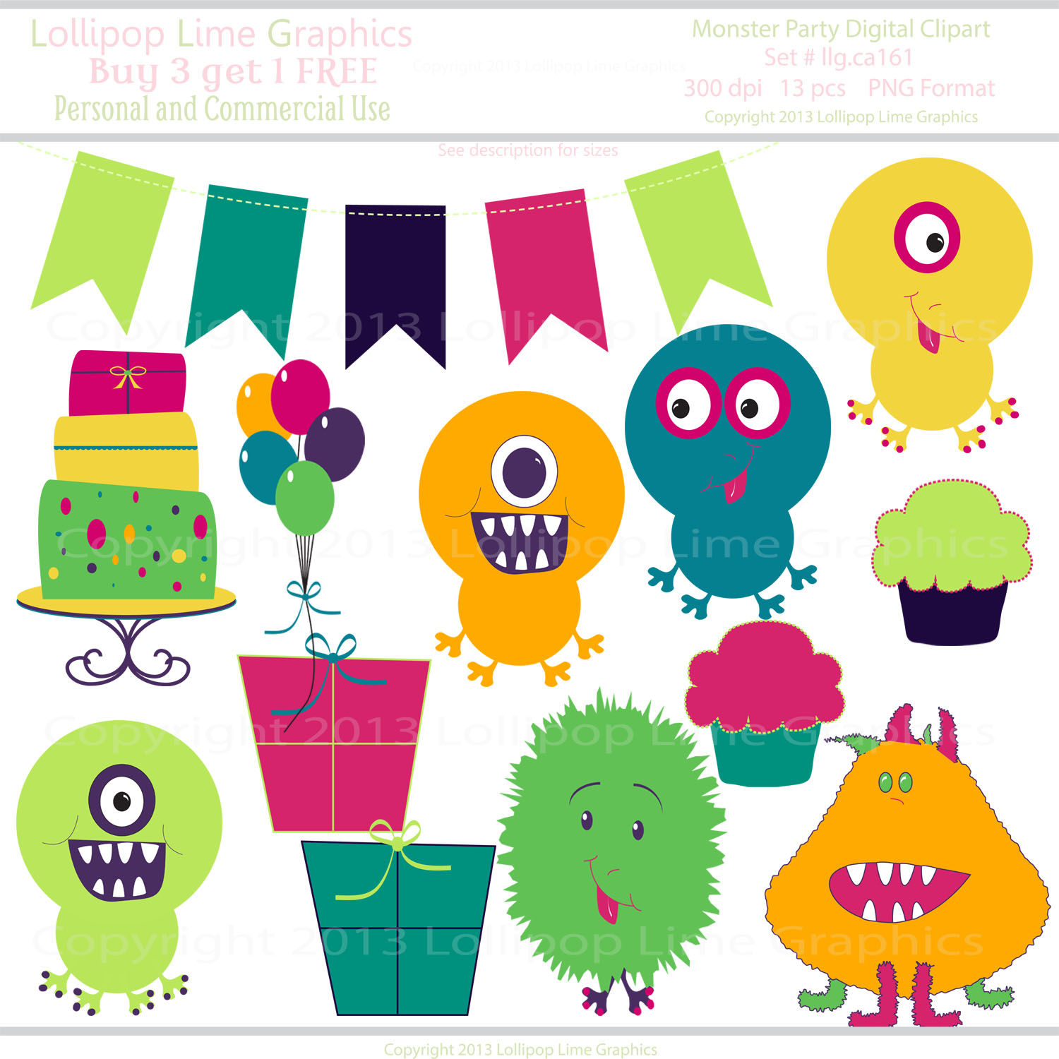 Cute Little Monster Party Digital Clipart Monsters Balloons Cake