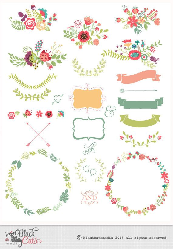 Free Clipart Flower Frames Digital Clipart Clipart Ribbons