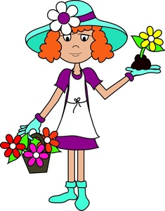 Gardening Clipart Image   Girl Or Woman Planting Flowers In A Flower