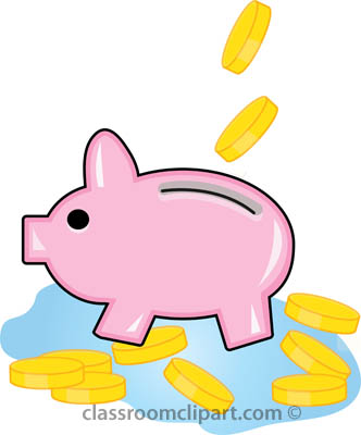 Money   Piggy Bank With Coins   Classroom Clipart