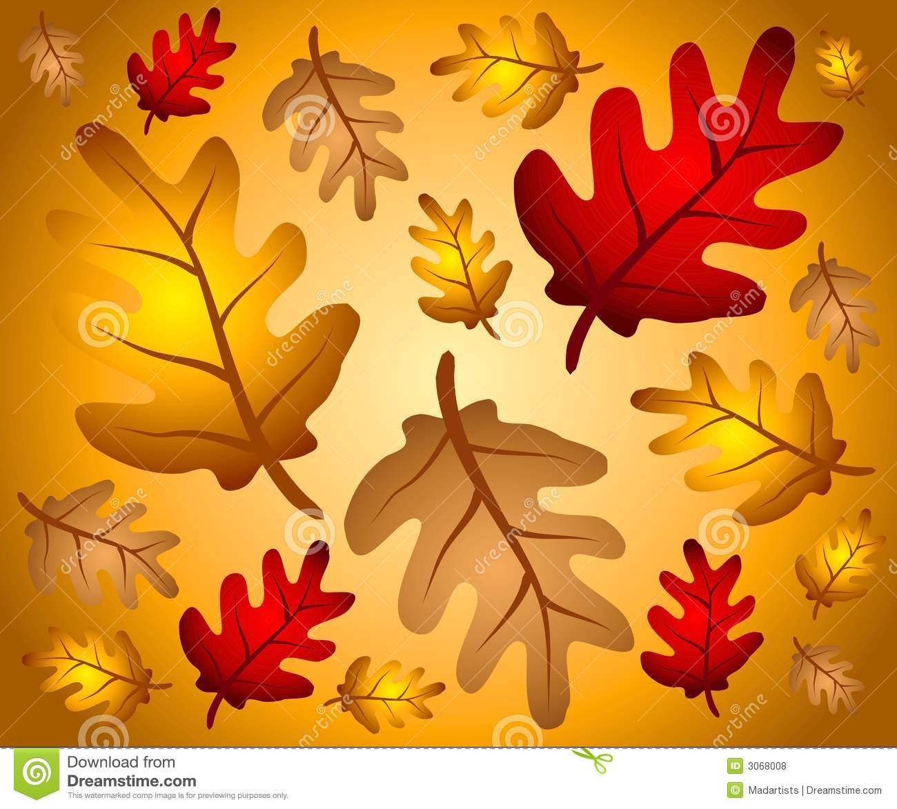 Of Autumn Leaves In Red Gold And Brown As A Background Pattern
