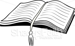 Open Bible With Bookmark   Bible Clipart