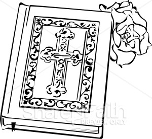 Ornate Bible With A Rose   Bible Clipart