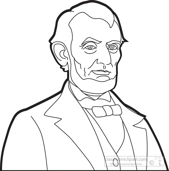 President Abraham Lincoln Outline Clipart   Classroom Clipart