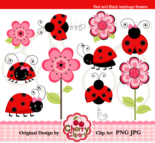 Red And Black Ladybugs Flowers Digital Clipart Set For Personal And