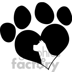 Rf Clipart Illustration Black Love Paw Print With Dog Head Silhouette