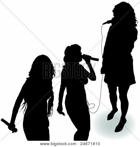 Singing Girl With A Microphone Black Silhouette Stock Vector   Stock