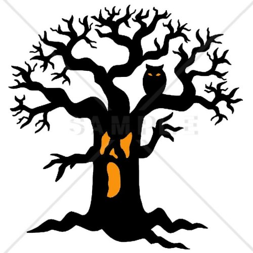 Spooky Halloween Tree Counted Cross Stitch Pattern