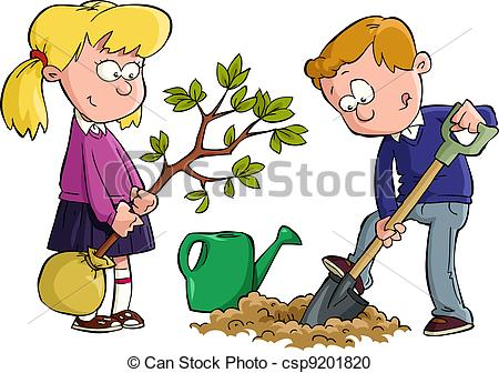 Vector Clipart Of Planting A Tree   The Children Planted A Tree Vector