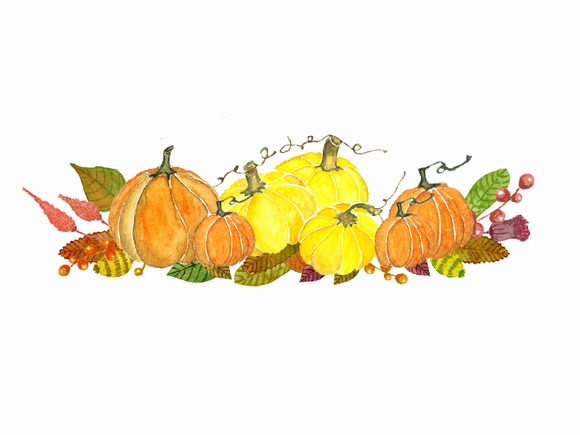 Watercolor Autumn Pumkin Clipart   Illustrations On Creative Market