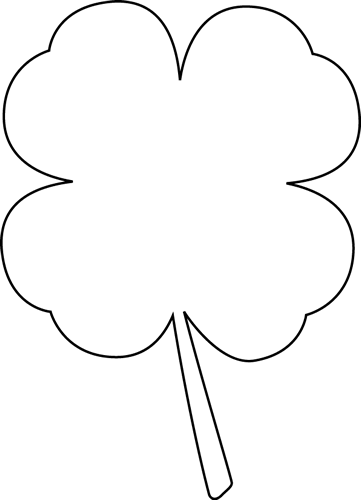 Black And White Four Leaf Clover Clip Art   Black And White Four Leaf