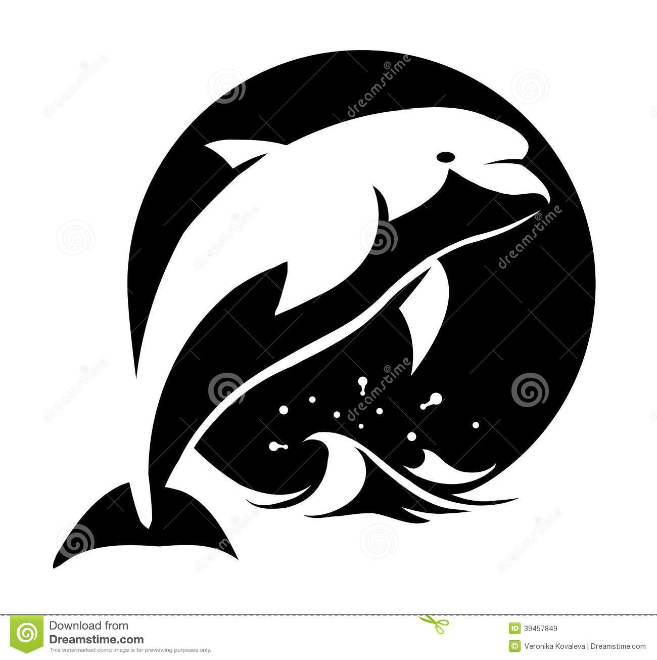 Black And White Vector Illustration Of A Dolphin Above Water