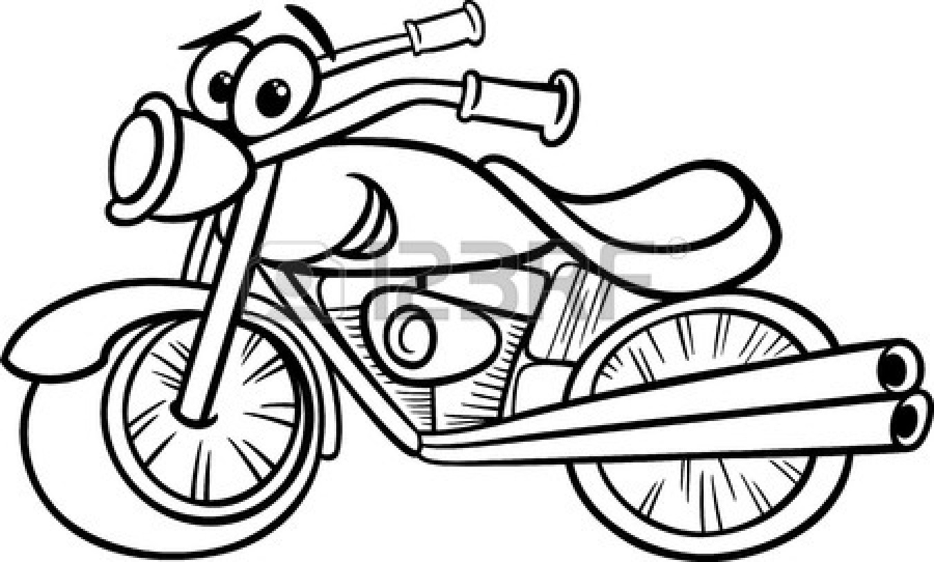Clipart Black And White 25894127 Funny Black And White Motor Bike