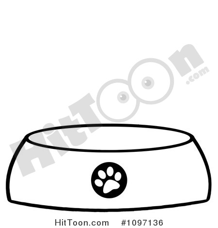 Clipart Black And White Dog Bowl Food Dish With A Paw Print   Royalty