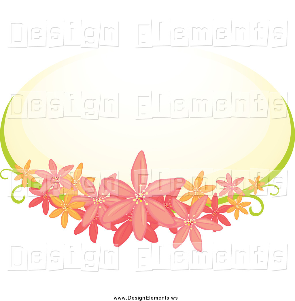 Clipart Of A Pink Floral Clematis Flower Frame And Pastel Oval