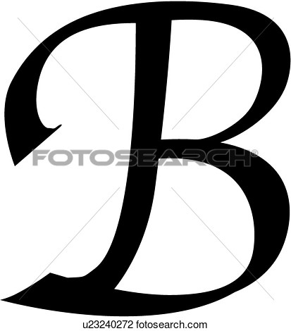Clipart Of  Alphabet B Block Calligraphy Capital Chisel Letter