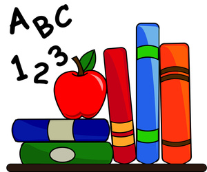 Image   Clipart Of A Stack Of Books With An Apple And Abc S And 123 S