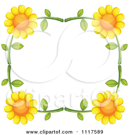 Royalty Free  Rf  Sunflower Border Clipart Illustrations Vector