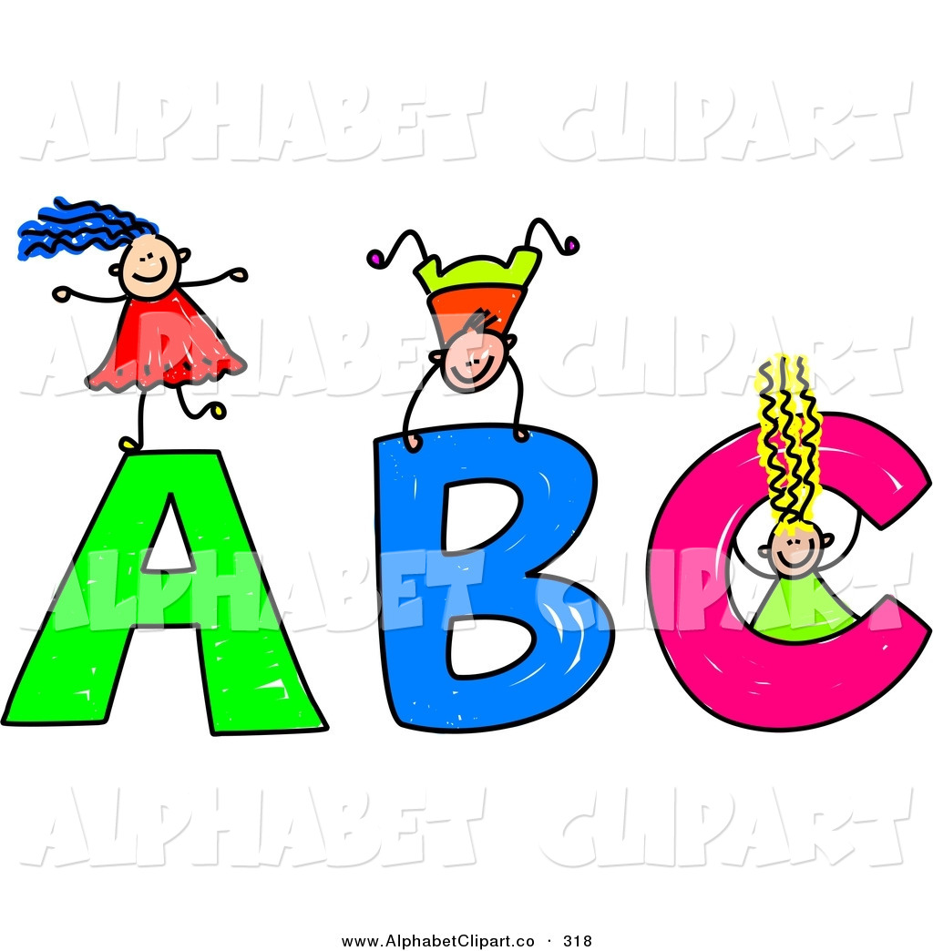 Stick Children Playing On Giant Abc Alphabet Letters By Prawny    318