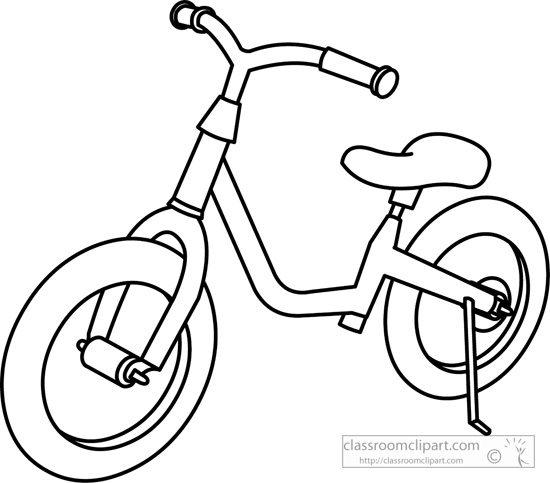 Transportation   Childrens Bicycle Outline   Classroom Clipart