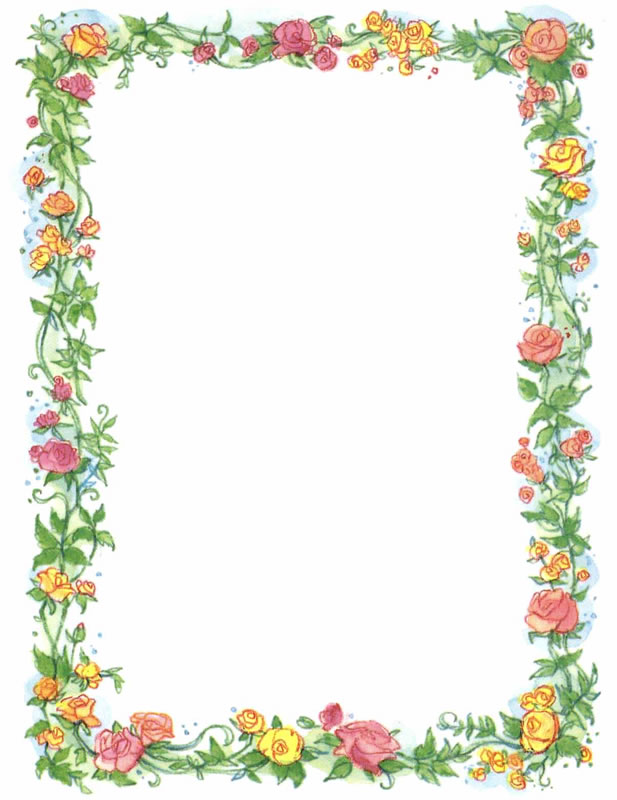 Vintage Clip Art   Pretty Vintage Red Currant And Floral Border Frame