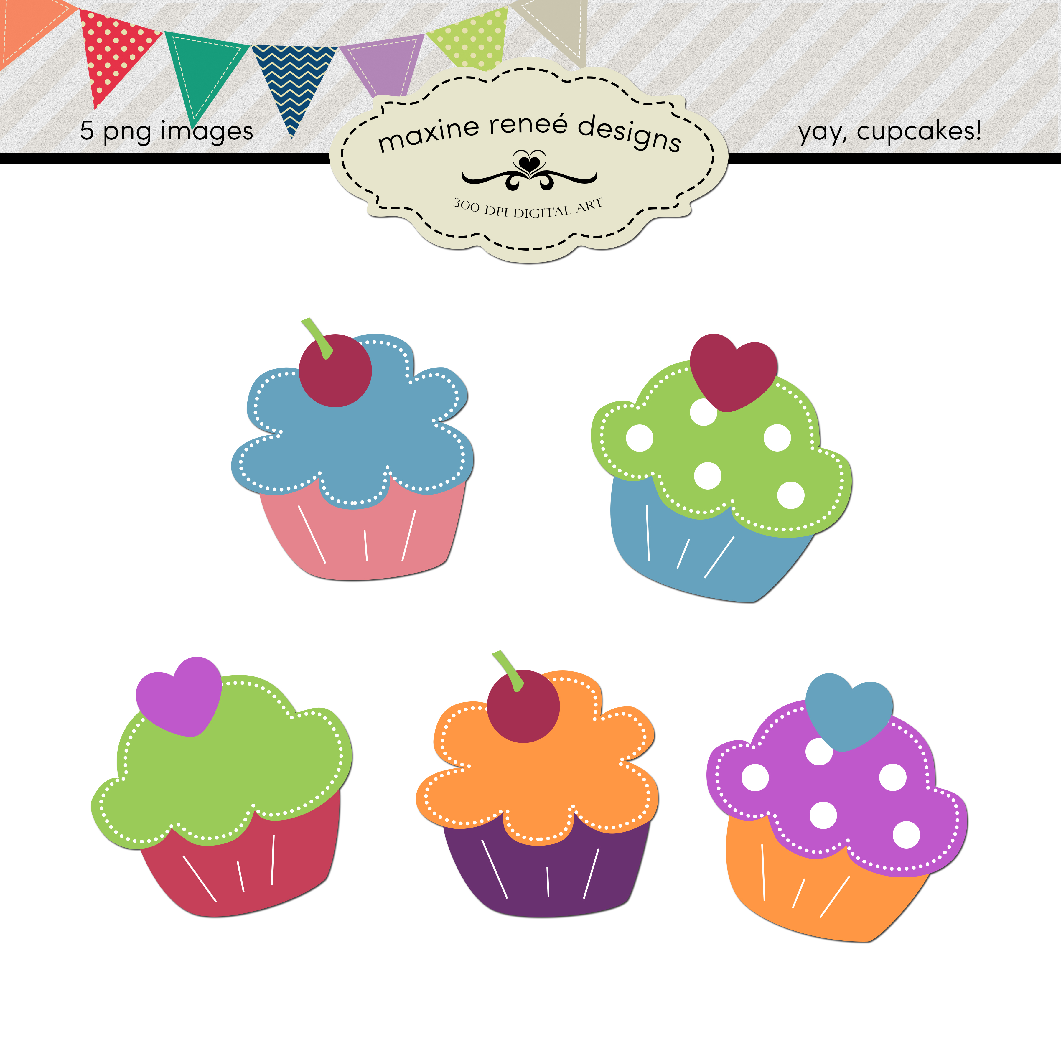 Yay Cupcakes  Digital Art Set