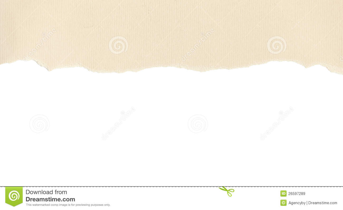 Beige Paper With Torn Edge On White Royalty Free Stock Images   Image