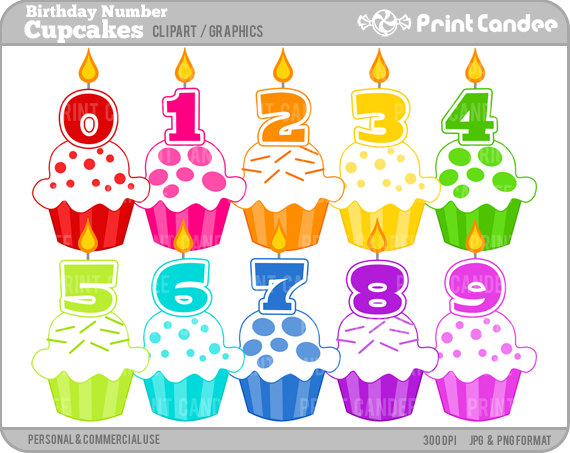 Birthday Number Cupcakes   Digital Clip Art   Personal And Commercial