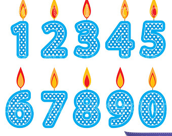 Blue Number Candles Clipart Boys Birthday Clipart Blue Candles Clip
