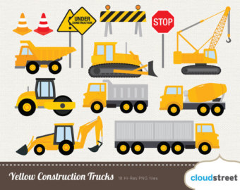 Buy 2 Get 1 Free Yellow Construction Trucks Clip Art For Personal And