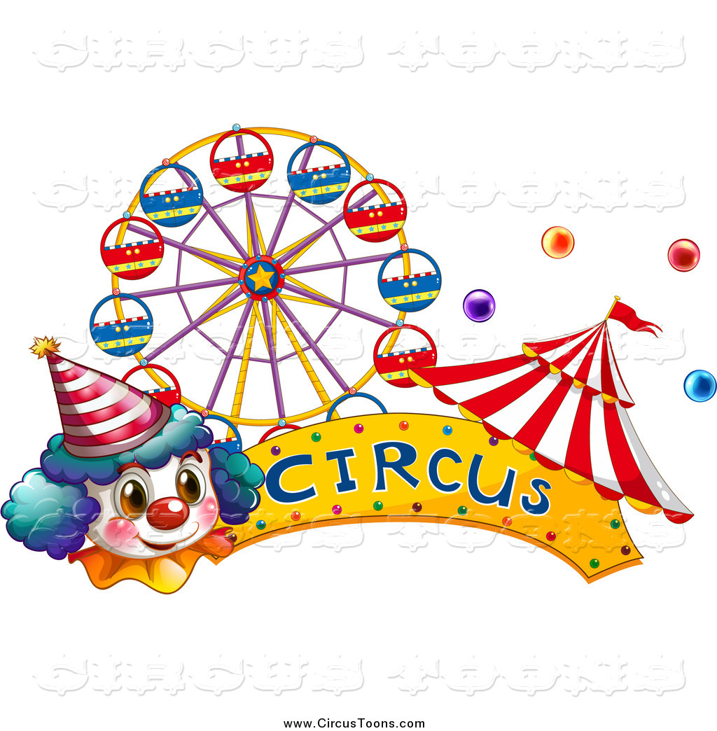 Circus Clipart Of A Clown Face With A Banner Big Top Tent And Carnival