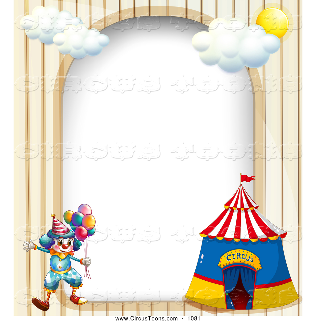 Circus Clown And Big Top Arch Border Clown And Blank Parchment Page
