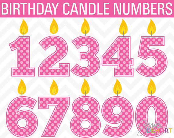 Clip Art Birthday Candle Numbers Instant Download