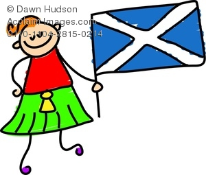 Clipart Image Of A Happy Little Boy Holding A Scottish Flag
