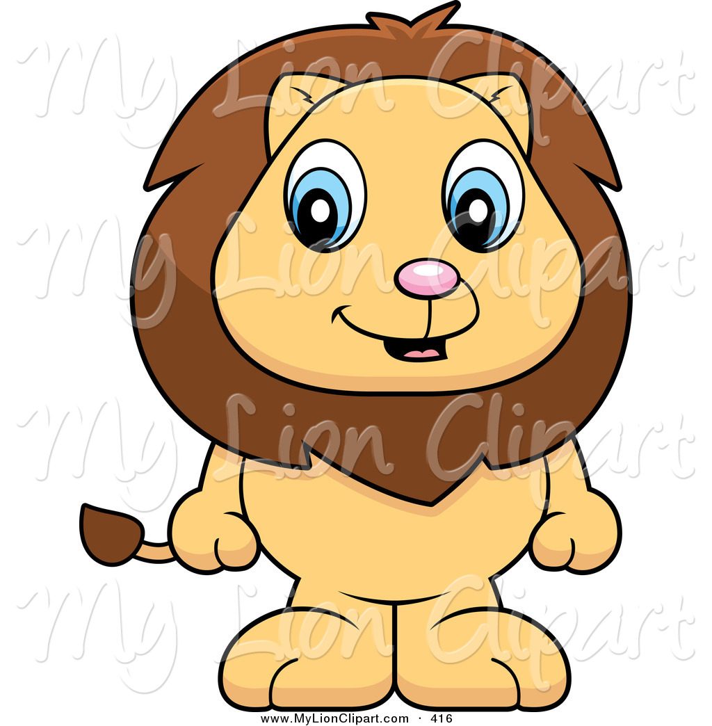 Clipart Of A Happy Baby Lion Standing On His Hind Legs By Cory Thoman