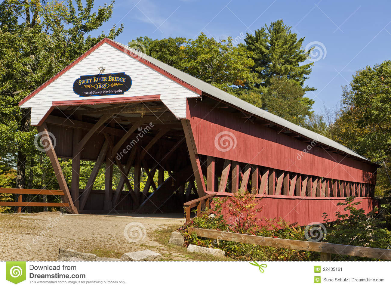 Covered Bridge In Conway Nh Stock Image   Image  22435161